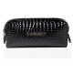 Cosmetic Bag Crocodile Leather Pattern Black Small (R24393)