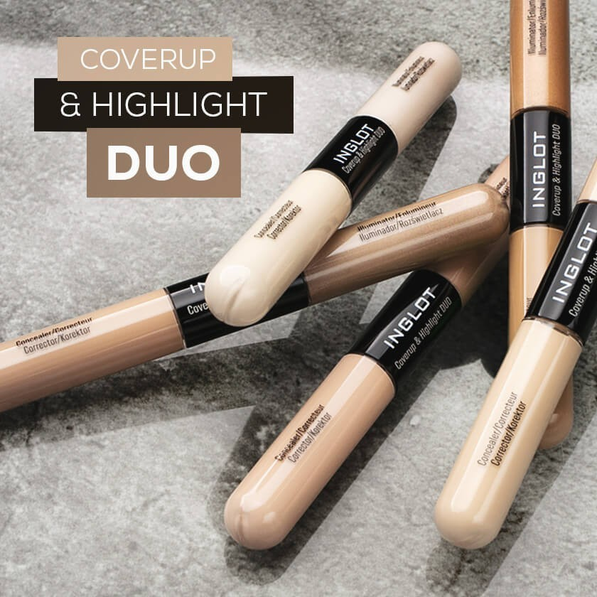 Cover unwanted imperfections and add a subtle glow on the go with irreplaceable INGLOT Coverup & Highlight Duo